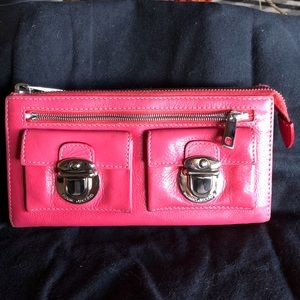 Marc Jacobs Pink Front Lock Double Pocket Wallet